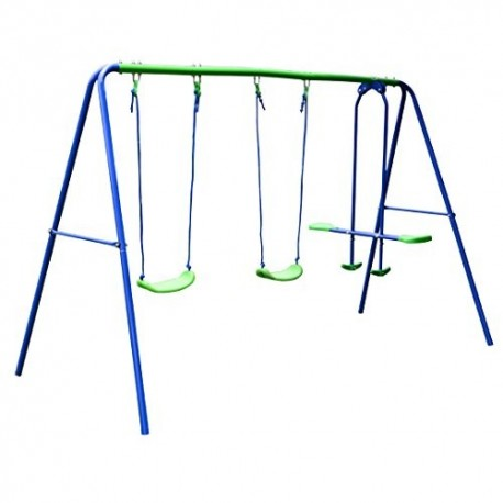 Hlc Outdoor Childrens Folding Swing Set With 2 Baby Swing Seesaw